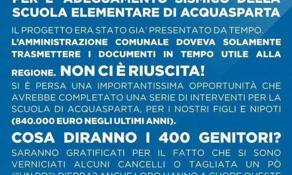 PERDITA CONTRIBUTO DI 310.000 EURO PER ADEGUAMENTO SISMICO SCUOLA