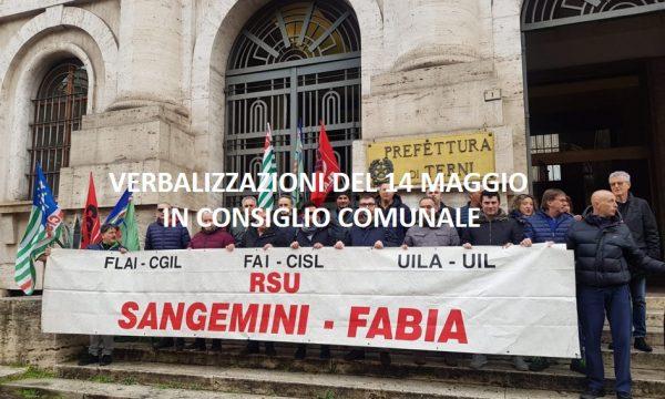 VERTENZA AMERINO SANGEMINI – DELIBERAZIONI CONSIGLIO COMUNALE DEL 14 MAGGIO